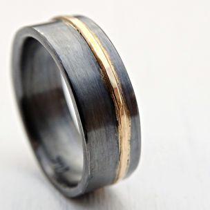 mens wedding band gold black silver mixed metal ring viking wedding ring - Black And Silver Wedding Rings
