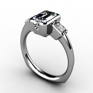 Custom Made Three Stone Emerald Cut Bezel Set Diamond Ring
