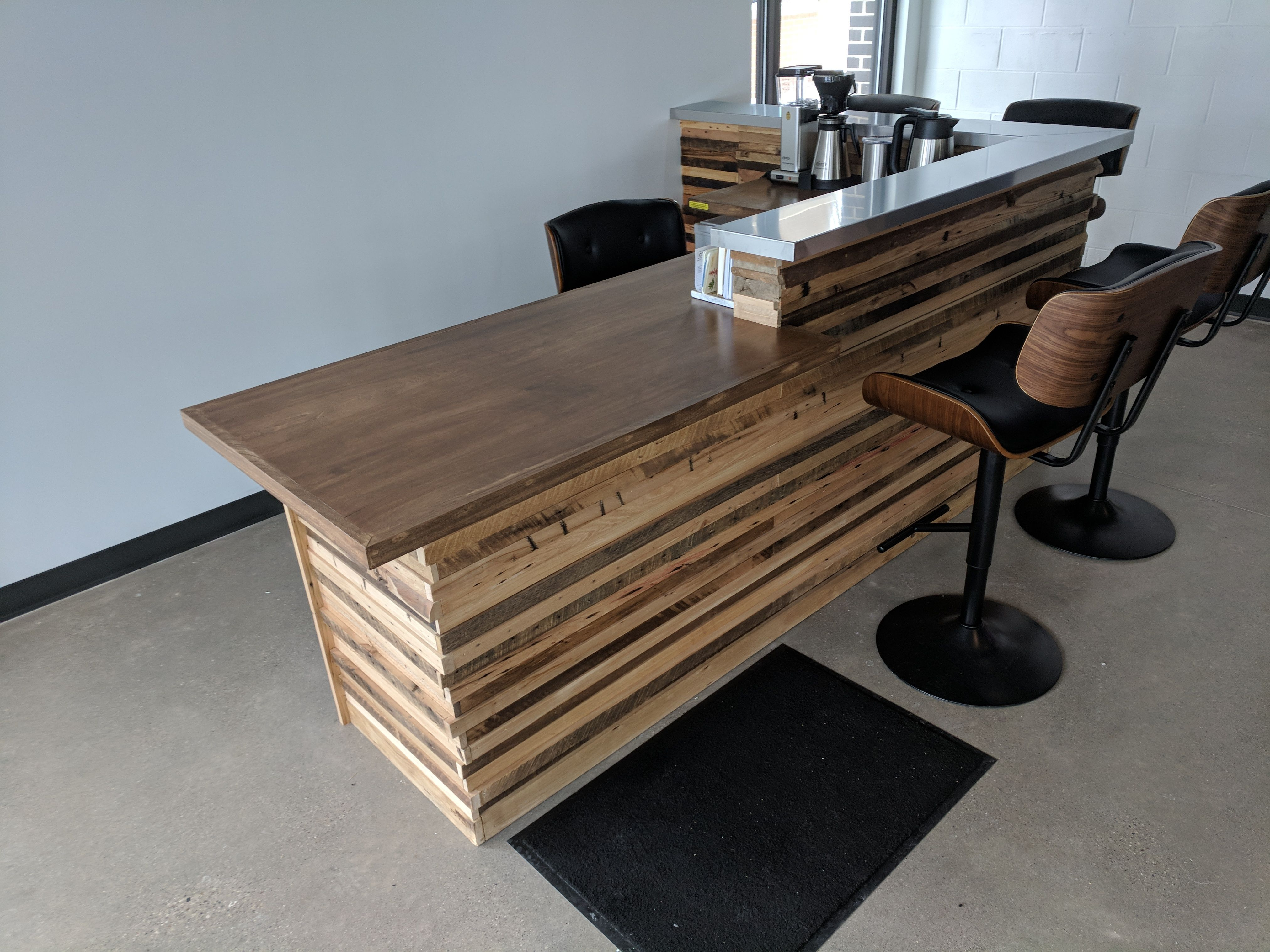 Reclaimed Wood Slat Reception Desk