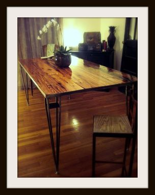 Custom Made Reclaimed Heart Pine/Steel Dining Table