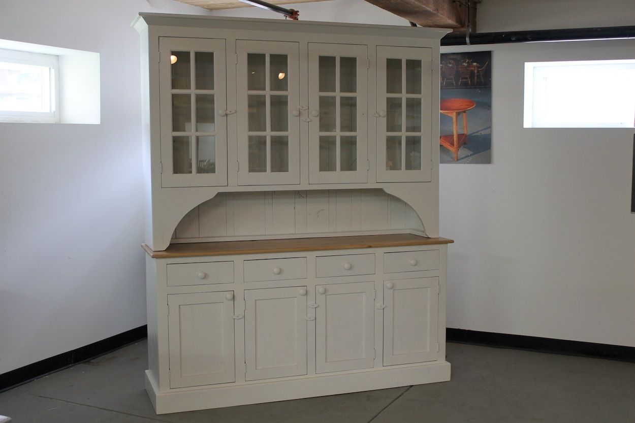 Hand Crafted Custom White 6ft Step Back Hutch From