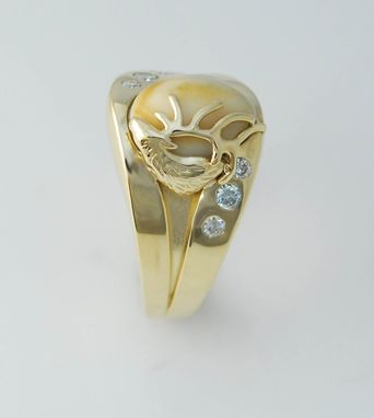 Custom Made 14kt Yellow Gold And .75cttw Diamond Elk Ivory Mens Ring