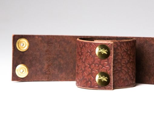 Custom Made Chestnut Leather Bondage Cuffs - Brass Fasteners