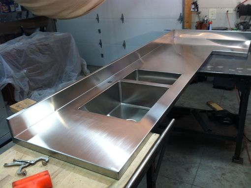 Hand Crafted Integral Stainless Steel Countertop And Sinks