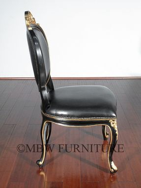 Custom Made Solid Mahogany Black / Gold Italian Genuine Leather Occasional Accent Chair
