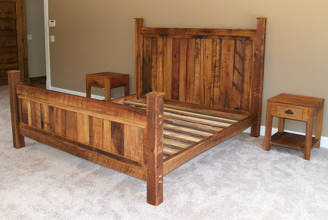 Buy A Handmade Cabin Style Reclaimed Wormy Chestnut Bed Frame Made To Order From The Strong Oaks Woodshop