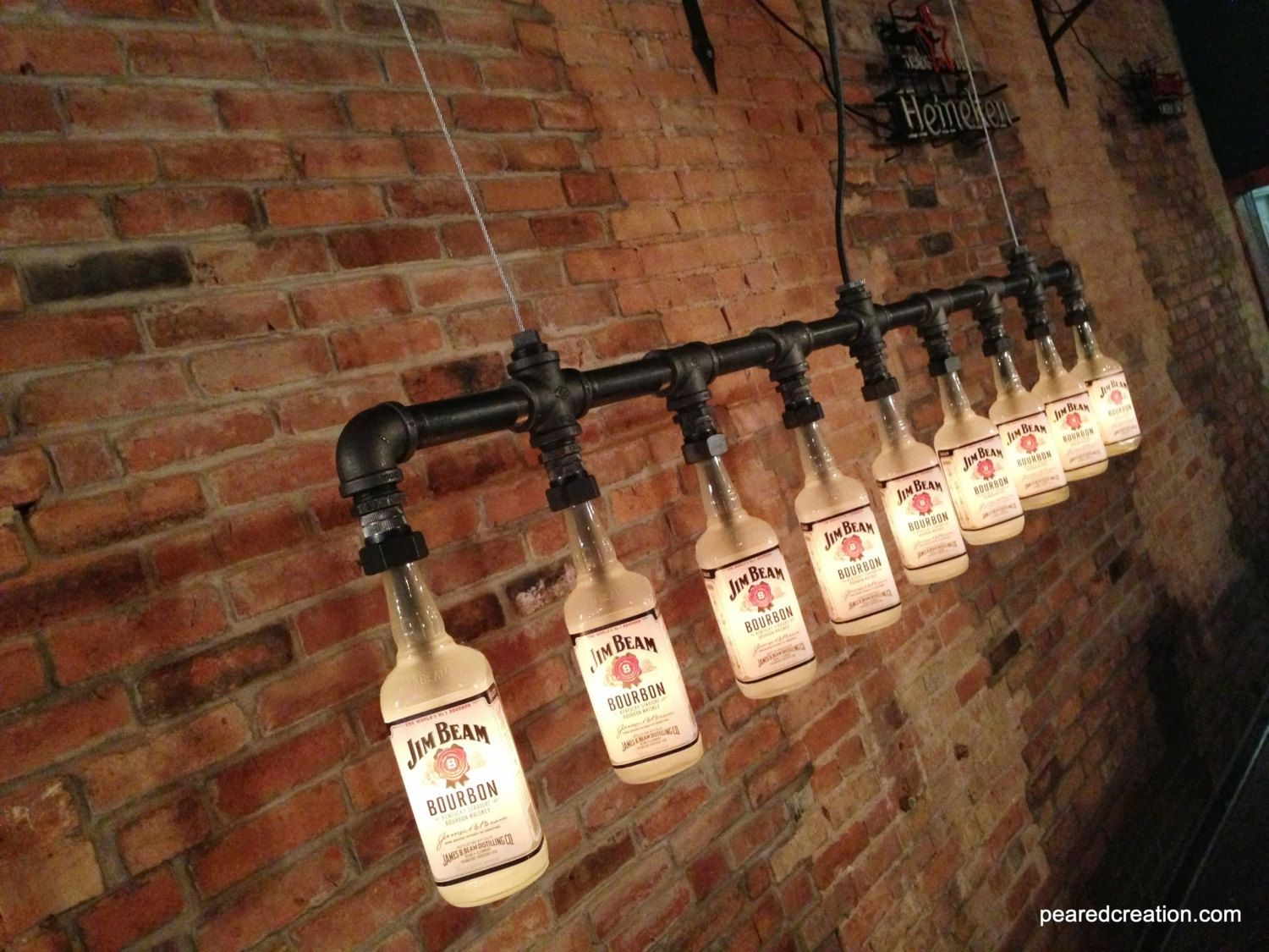 buy a hand made industrial style chandelier bottle light made to order from peared creation. Black Bedroom Furniture Sets. Home Design Ideas