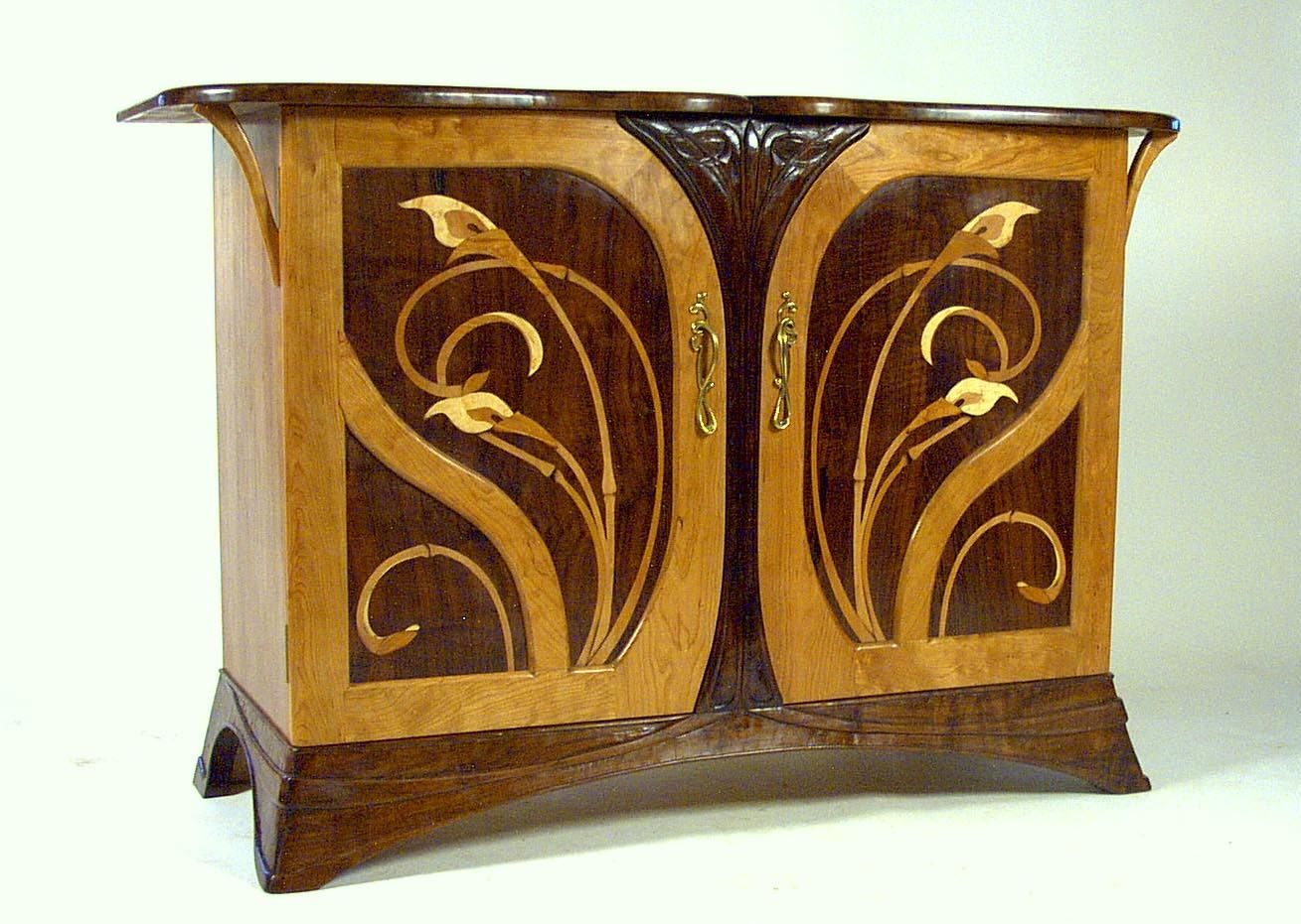 Hand Crafted Art Nouveau Cherry And Walnut Sideboard By