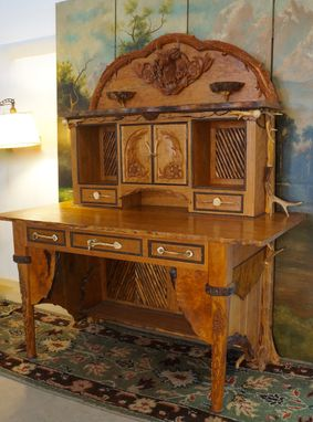 Custom Made Hand Carved Whitetail Desk