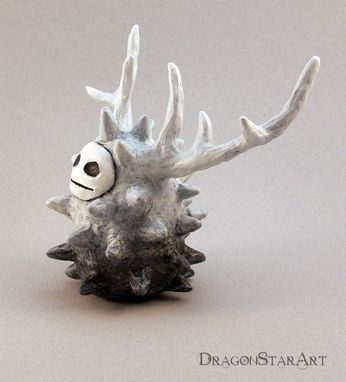 Custom Made Clay Spirit Sculpture, Monster Figurine, White And Gray Forest Spirit Art Object With Antlers