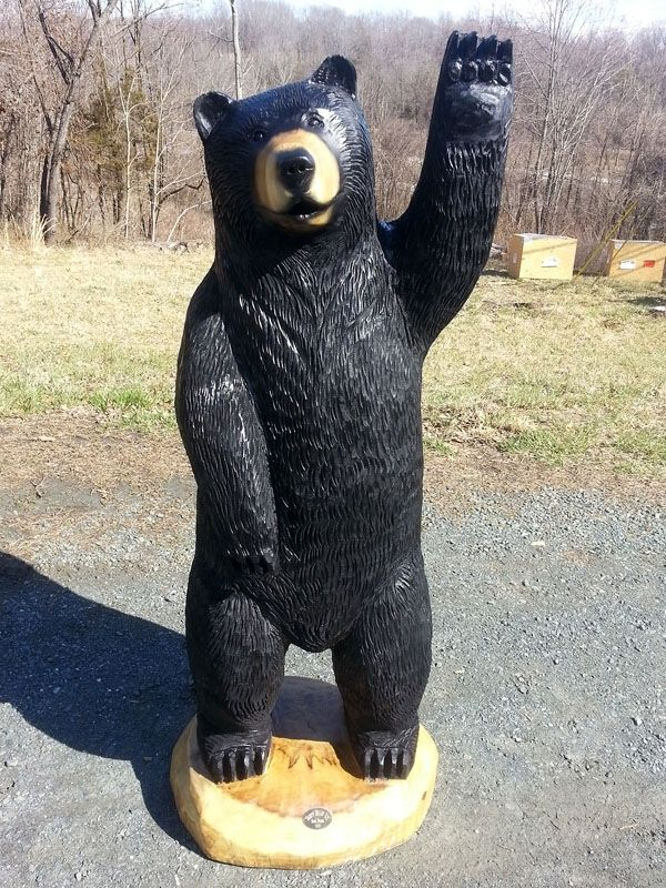Hand Made Big Black Bear Chainsaw Wood Sculpture Waving