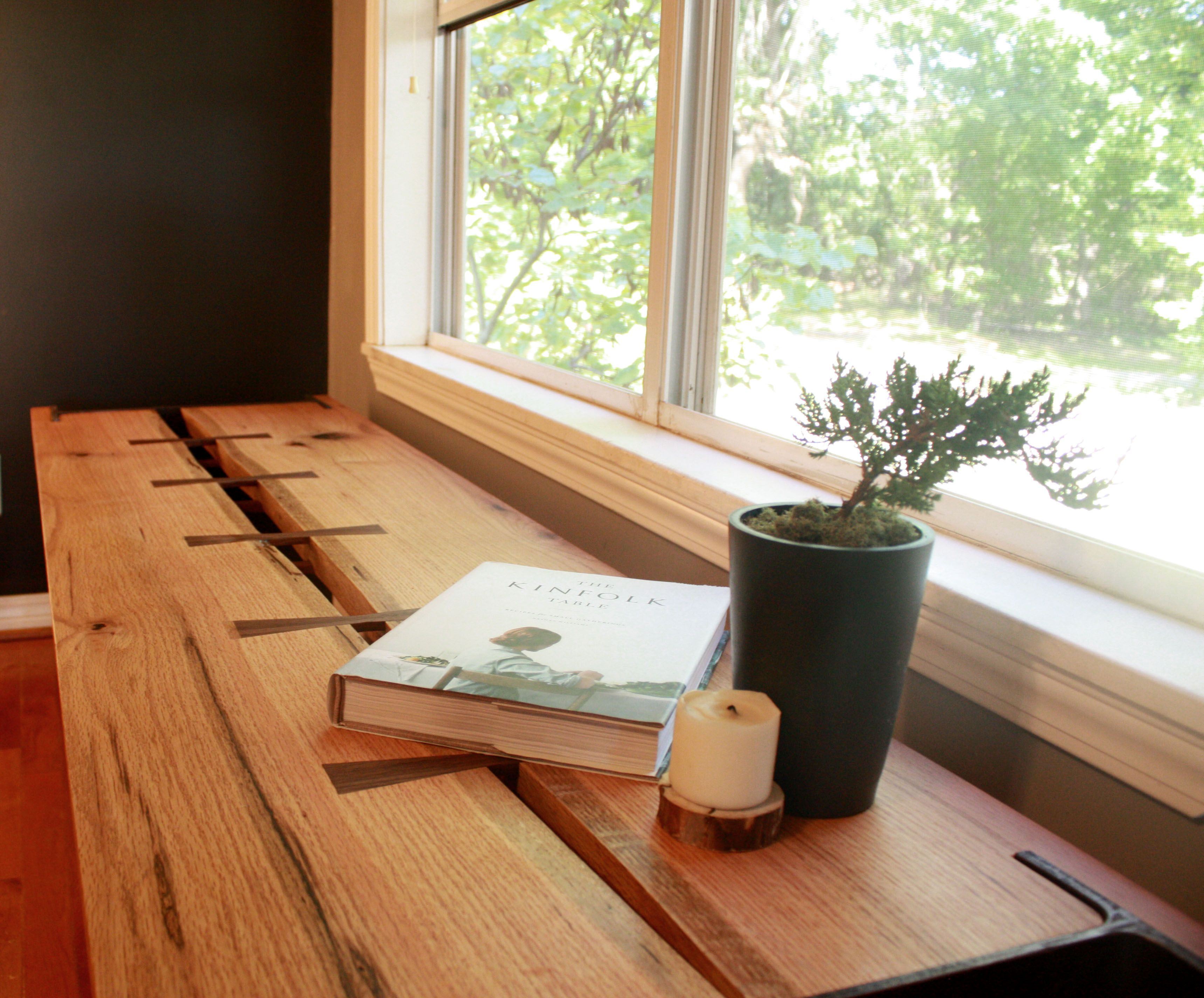 Hand Made Live Edge Oak Window Bench With Salvaged I Beam Legs By Red Leaf Woodcraft Design
