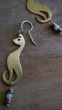 "Custom Made Cat-Shaped Brass And Sterling Silver Earrings ""Meow''"