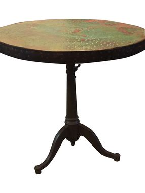 Custom Made Hand Hammered Copper Table, Vintage Reclaimed Cast Iron Base