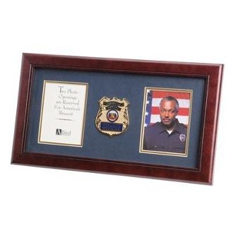 Custom Made Police Department Medallion Double Picture Frame