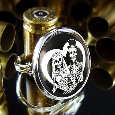 Custom Made Day Of The Dead Skeletons Bride & Groom Sterling Silver Ring 66-Srr