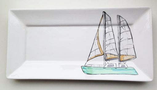 Custom Made Custom Boat Portrait On Hand-Painted Ceramics
