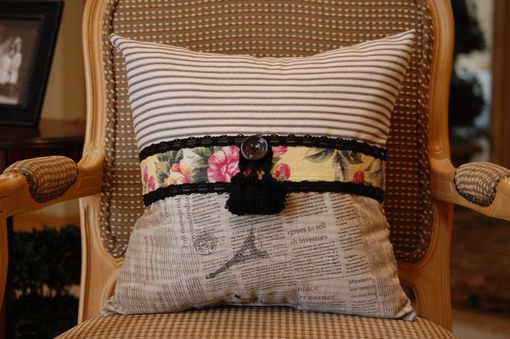 Custom Made Vintage Floral Barkcloth Small Square Pillow