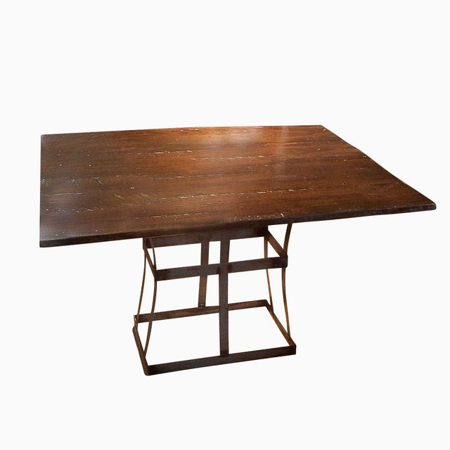 A Handmade Reclaimed Wood Dining Table With Contemporary Metal Base Made To Order From The Strong Oaks Custommade