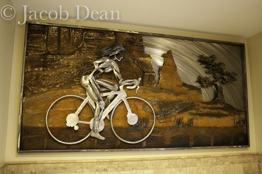 Custom Made Cyclist Relief, Fabricated Metal Sculpture.