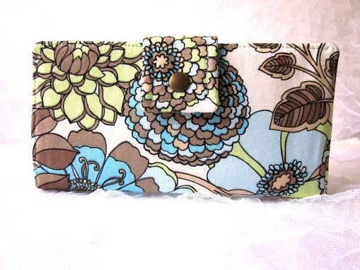 Custom Made Handmade Women Wallet Large Flowers Blue Green Brown - Id Clear Pocket Ready To Ship