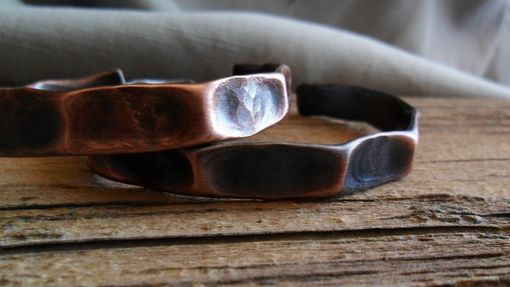 Custom Made Hammered Copper Cuff Bracelet With Thumbprint Design