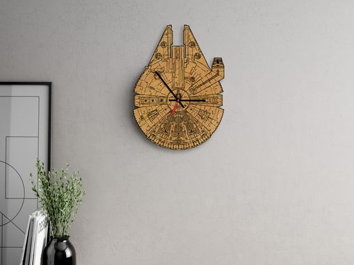 Custom Made Millennium Falcon Laser-Cut Wooden Clock