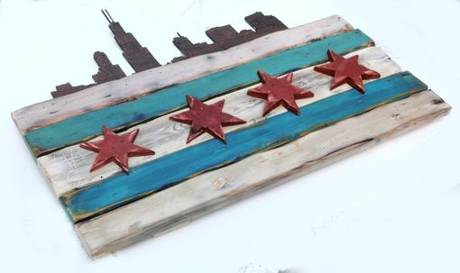 Custom Made Distressed Wooden Chicago Flag