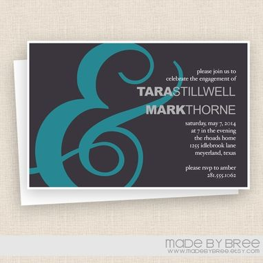 Custom Made Modern Ampersand Invitation - Wedding Or Engagement