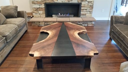 Custom Made Live Edge Walnut/Steel Large Coffee Table