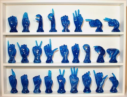 Custom Made The American Sign Language Alphabet-Teal Blue