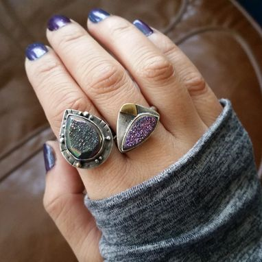 Custom Made Rainbow Titanium Druzy Agate Sterling Silver Ring