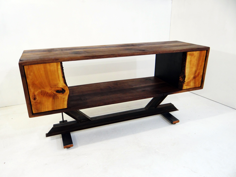 Custom walnut console table with metal i beam base and live edge custom made walnut console table with metal i beam base and live edge cherry doors geotapseo Choice Image