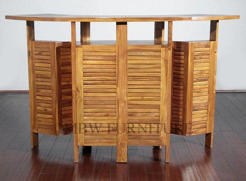 Handmade Teak Indoor/Outdoor Convertible Folding 6ft Patio Bar by ...