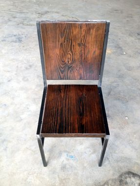 Hand Crafted Chair Stool Made Of Reclaimed Wood And Steel With Iron
