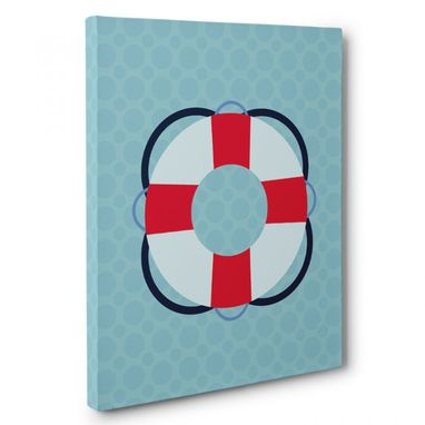 Custom Made Nautical Red And Blue Floaty Canvas Wall Art