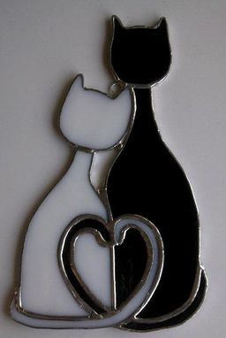 Custom Made Cozy Cats - Stained Glass Sun Catcher (G-4)