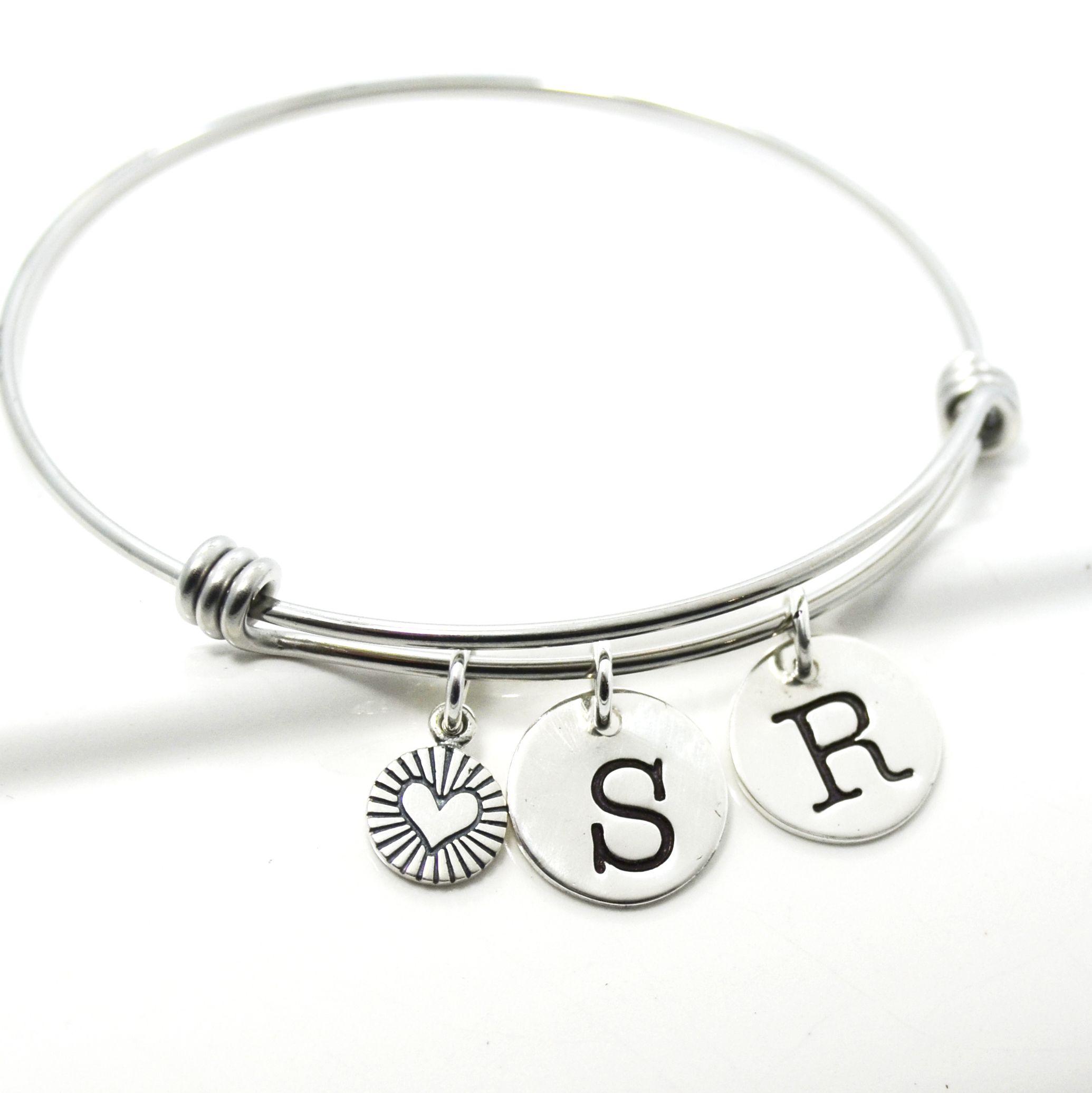 Custom Made Initial Bangle Charm Bracelet S Mothers