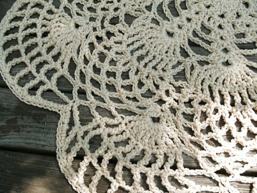 "Custom Made Off White Flesh Patio Porch Cord Crochet Rug In 45"" Pineapple Flower Pattern"