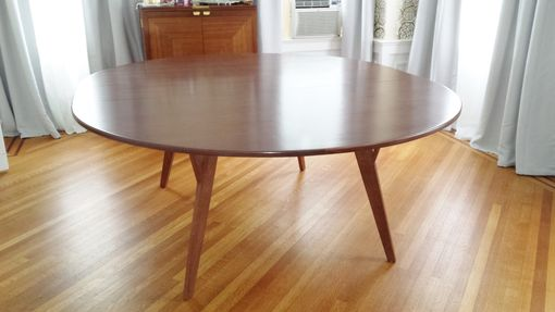 Custom Made Round Walnut Table With Leaf