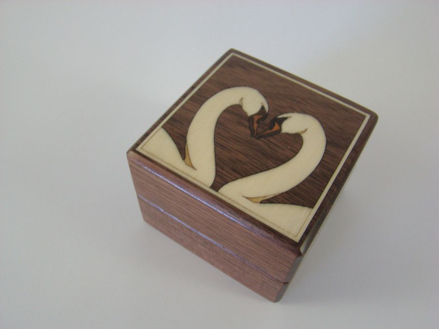 Buy A Hand Crafted Inlaid White Swans Engagement Ring Box With Free