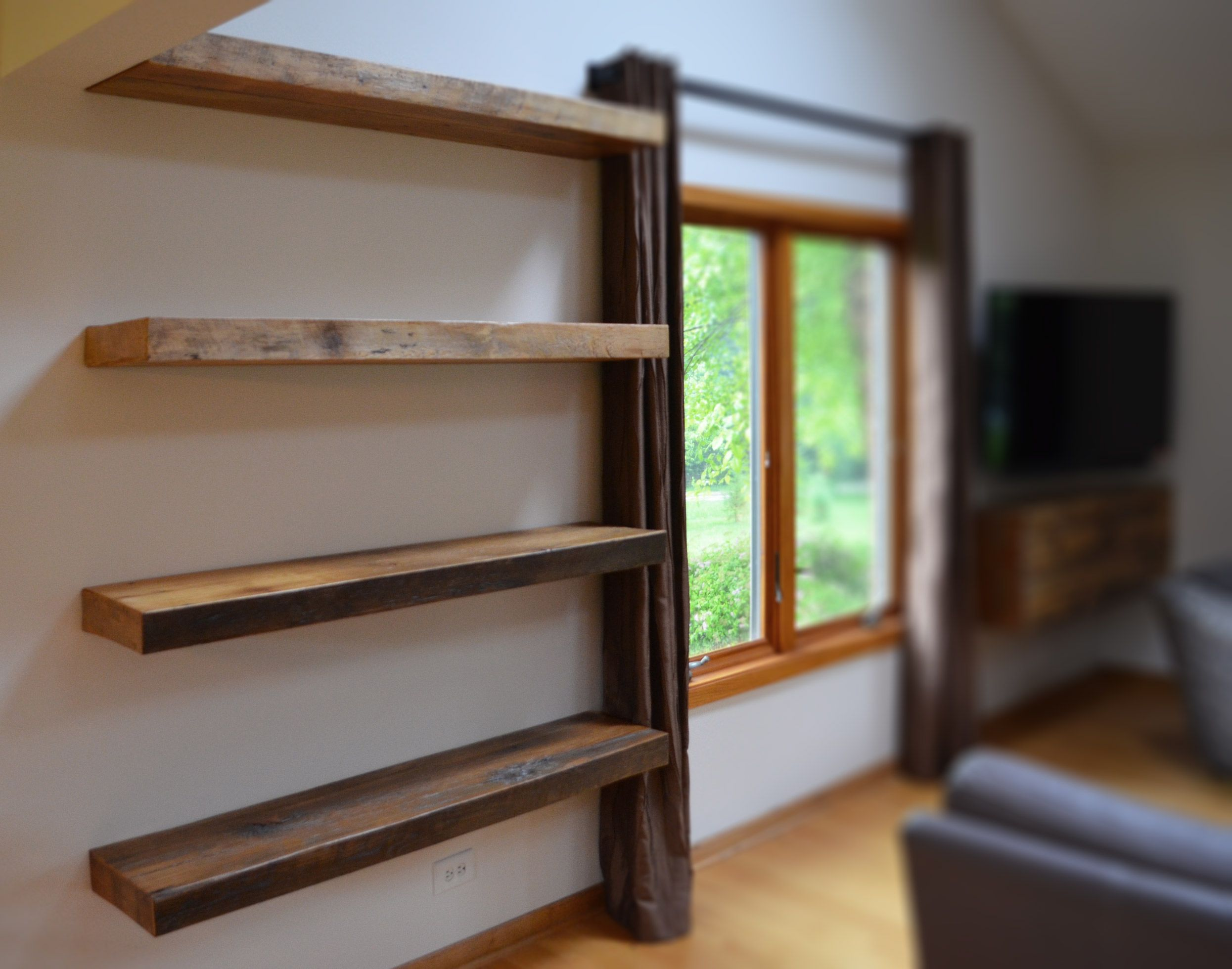 Floating Bookshelves hand made rustic floating shelvesabodeacious | custommade