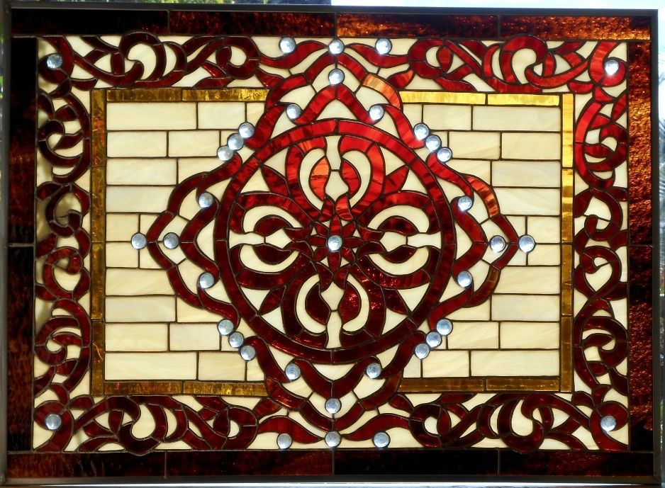 Custom Made Moroccan Celtic Stained Glass Window By