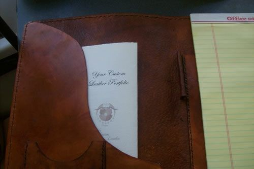 Custom Made Custom Leather Portfolio W/Business Logo