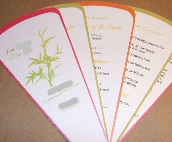 Custom Made Personalized Wedding Programs 5 Blade Fan Style With Ribbon Trim