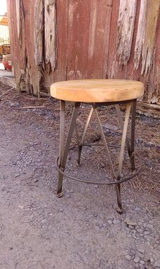 Custom Made Chair Height Cafe Stools From Reclaimed Wood And Metal