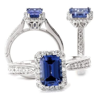 Custom Made 18k Chatham 7x5mm Emerald Cut Blue Sapphire Engagement Ring With Natural Diamond Halo