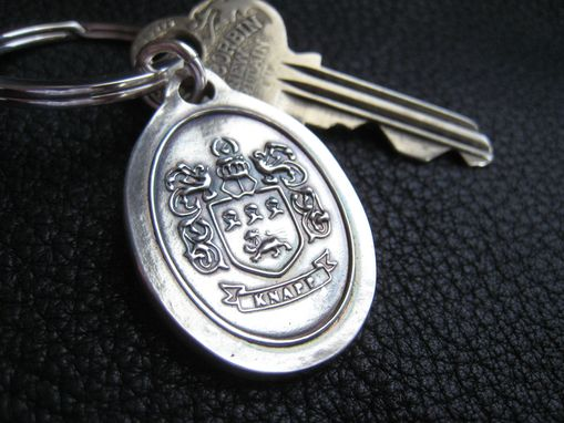 Custom Made Keychains Key Fob Key Ring With Family Crest Coat Of Arms  In Sterling Silver Custom