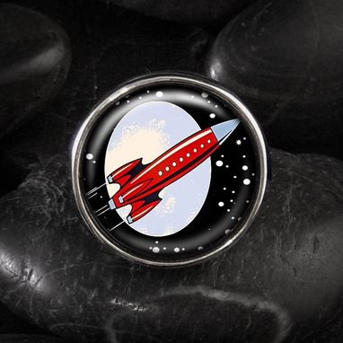 Custom Made Retro Rocket Ship Outer Space Silver Glass Ring 05-Srr