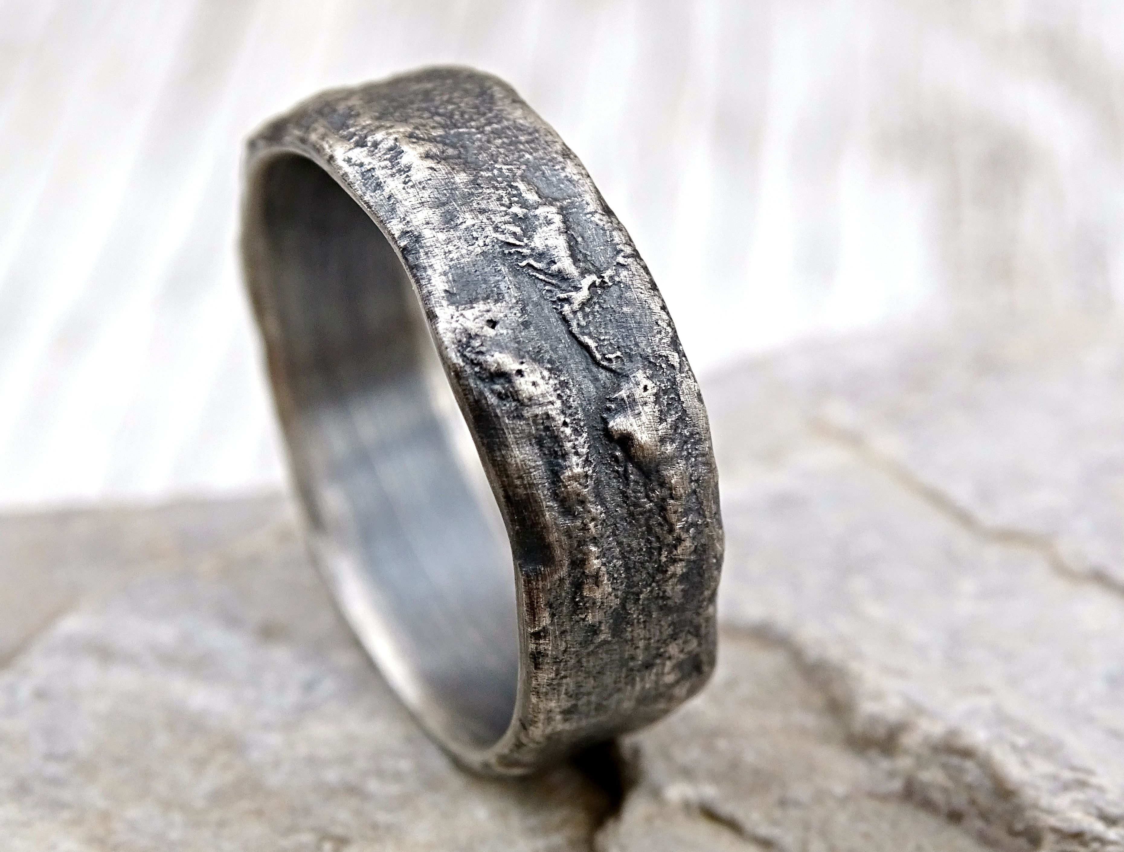 custom made molten silver ring richly structured unique mens ring alternative wedding band silver - Mens Unique Wedding Ring